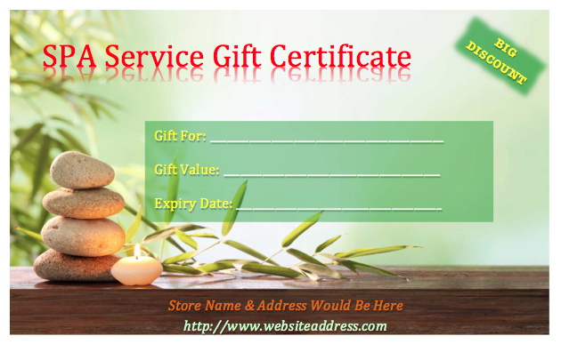 Spa gift certificate template things to wear pinterest gift sample blank gift certificate template 36 free gift certificate templates bates on design yadclub Images