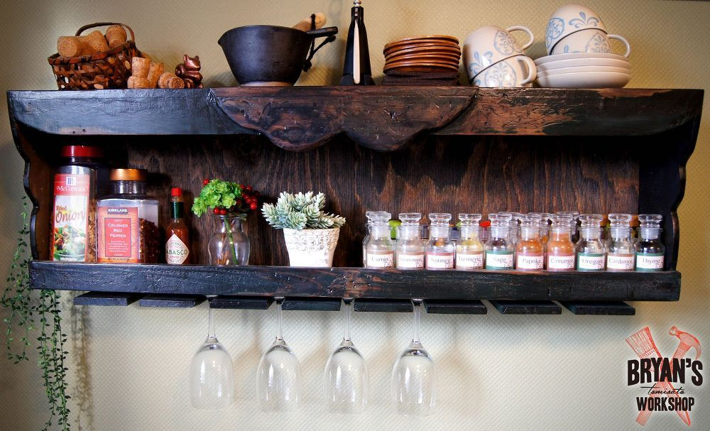 DIY+Wood+Spice+Rack+With+A+Pallet+Wine+Glass+Holder