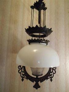 Antique Hanging Oil Lamp Fancy Black Cast Iron Adjustable Etched