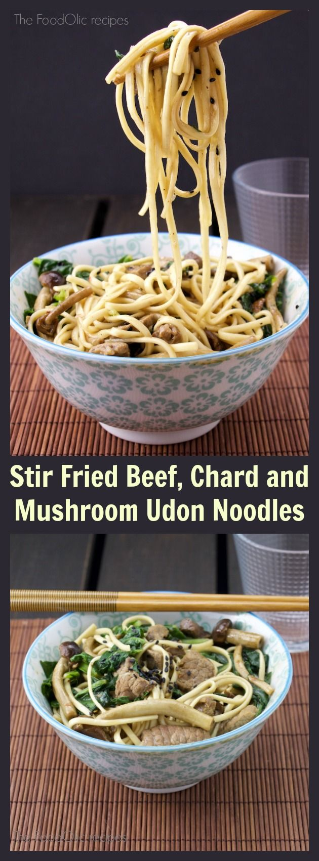 Stir fried beef and mushroom in chinese wine with udon noodles is so tasty, this…