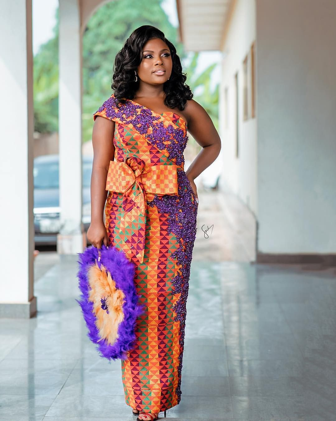 Kente Wedding Gowns: Image May Contain: 1 Person, Standing In 2019