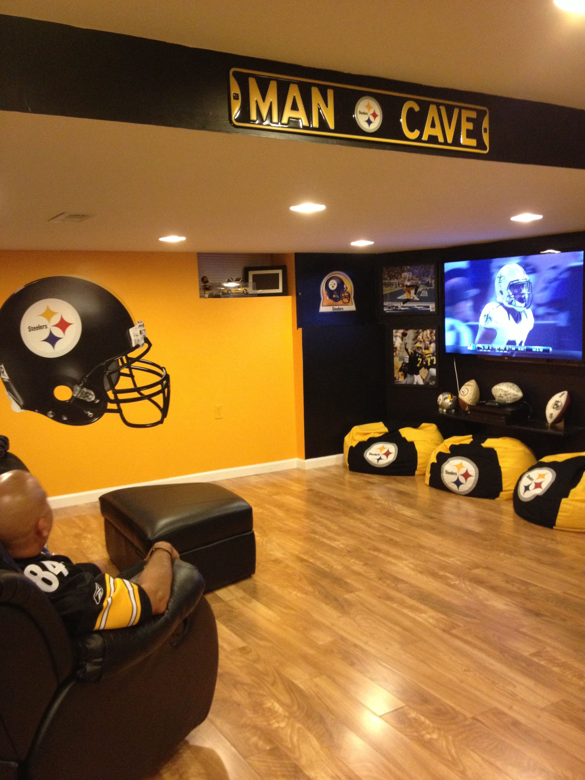 OUR STEELER MAN CAVE  Ultimate man cave, Man cave room, Sports