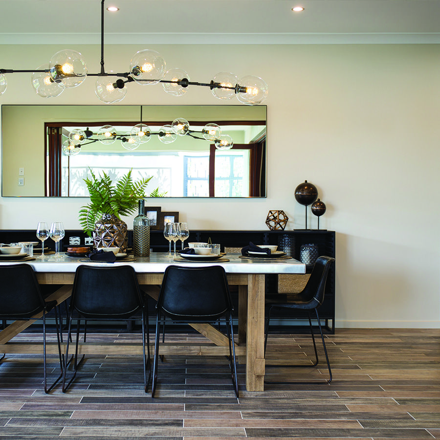 What A Beautiful Dining Room Timber Look Tiles Showcased Here In Metricon Queensland