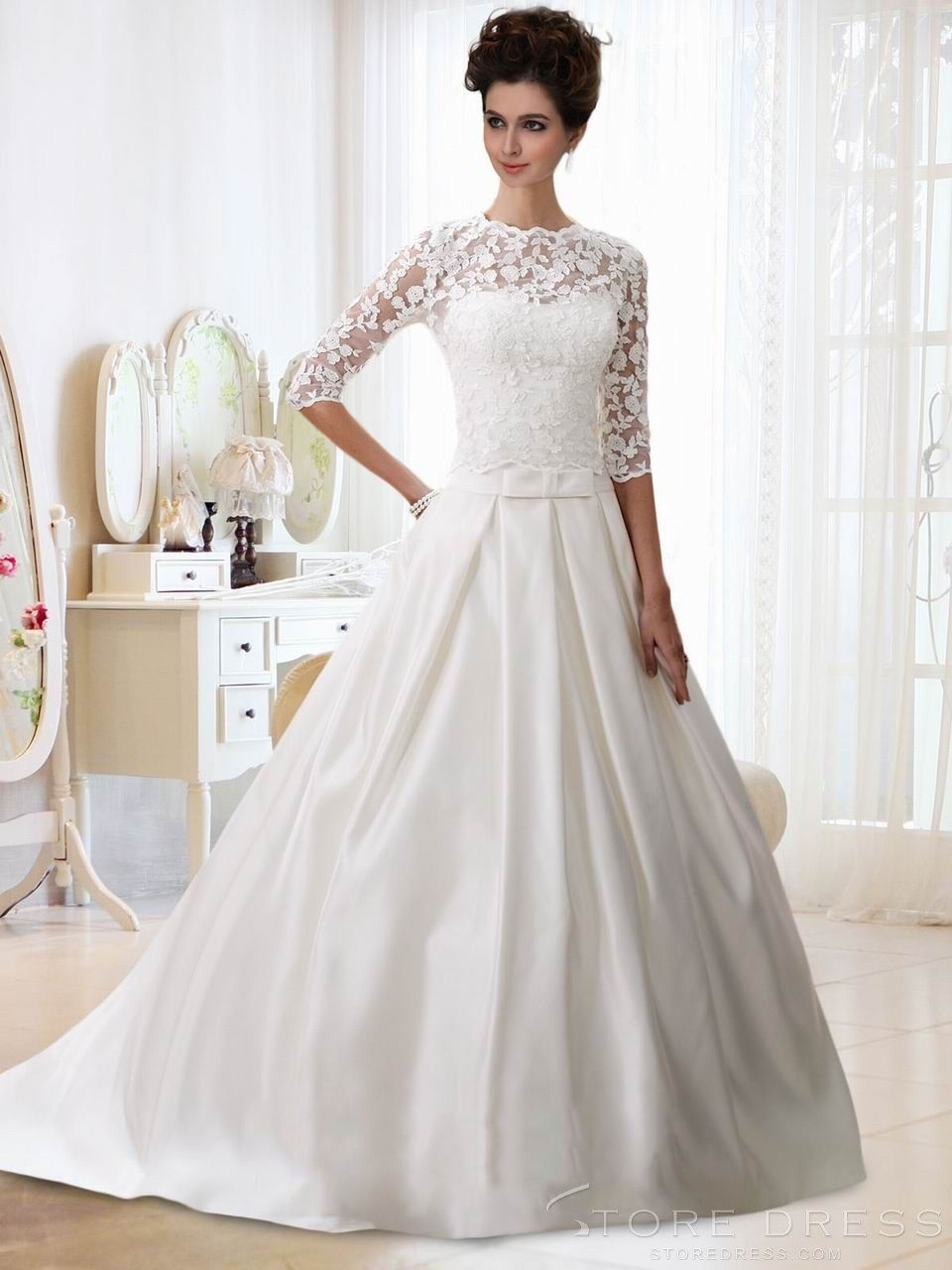 Ball gown scalloped brush train half sleeves with applique buttons