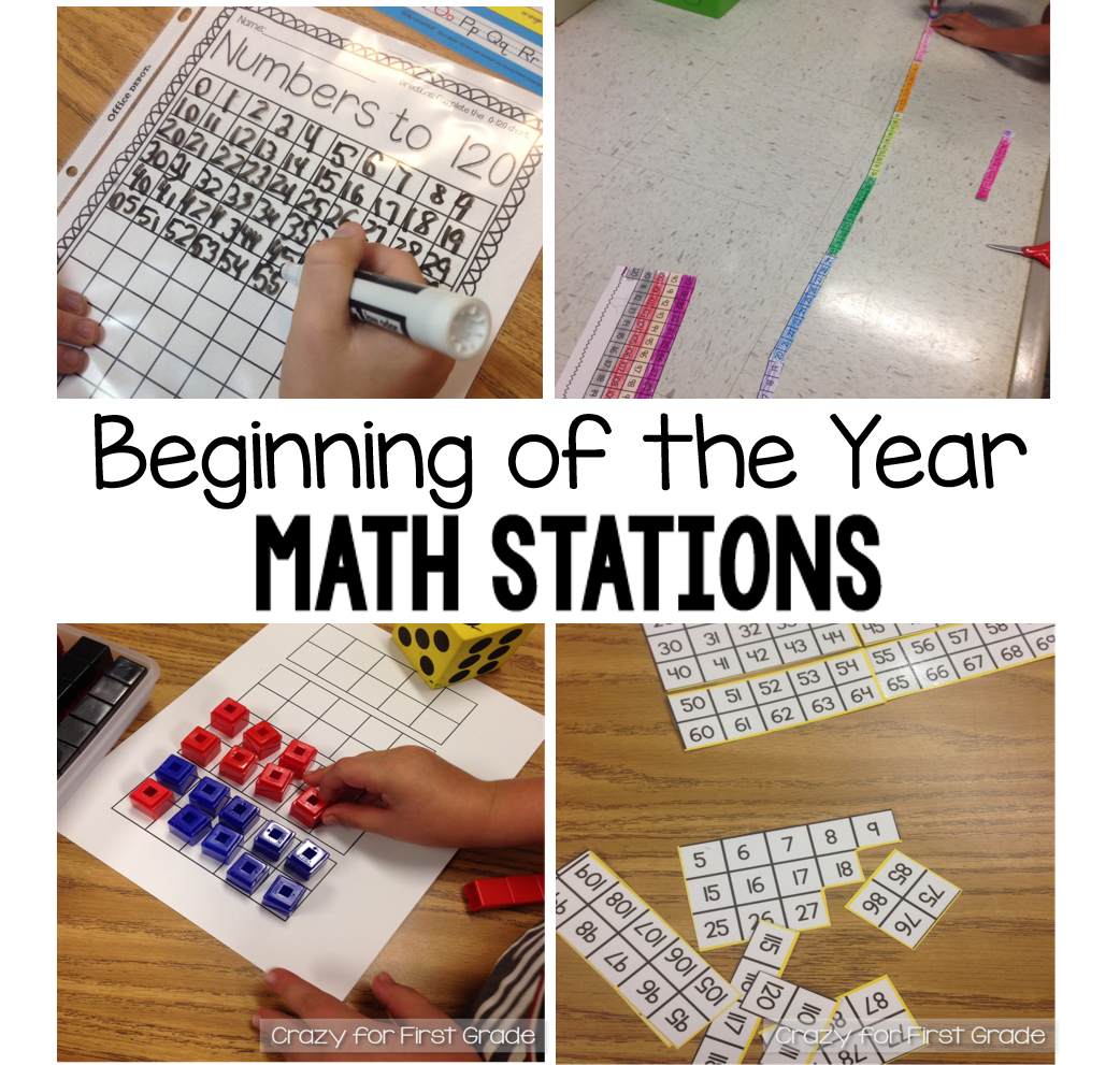 Crazy For First Grade Beginning Of The Year Math Stations In First Grade