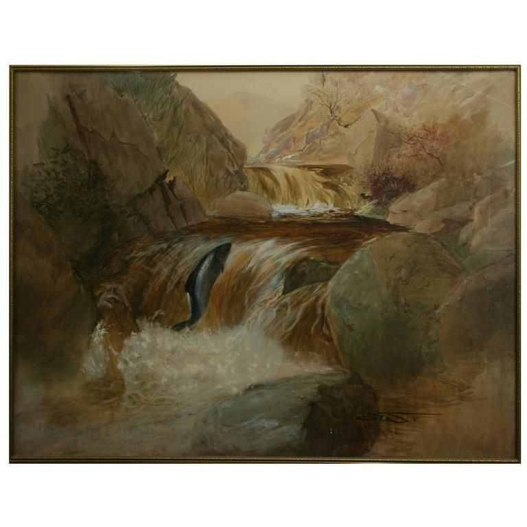 Salmon Fishing | From a unique collection of antique and modern paintings at https://www.1stdibs.com/furniture/wall-decorations/paintings/