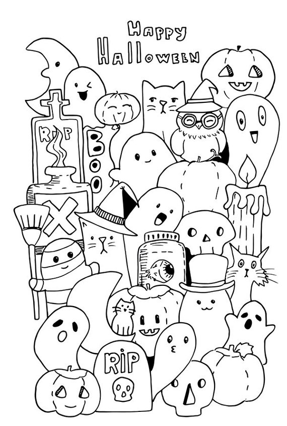 Happy Halloween Doodle. Instand Download JPG Coloring Page