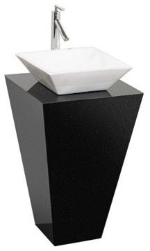 Esprit Custom Bathroom Pedestal Vanity Black Granite W White