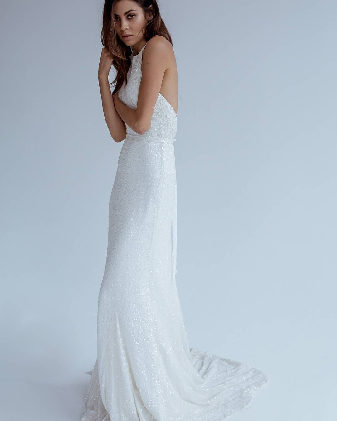 Nerada uallover sequined halterneck gown with lowcenter back