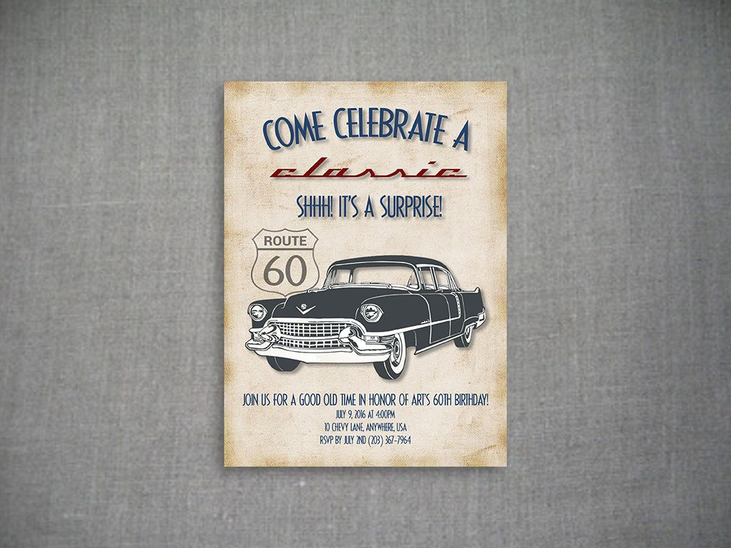 Come Celebrate A Classic 5x7 Birthday Invitation Car Surprise Party 60th Vintage Theme By LolliAndLina On Etsy