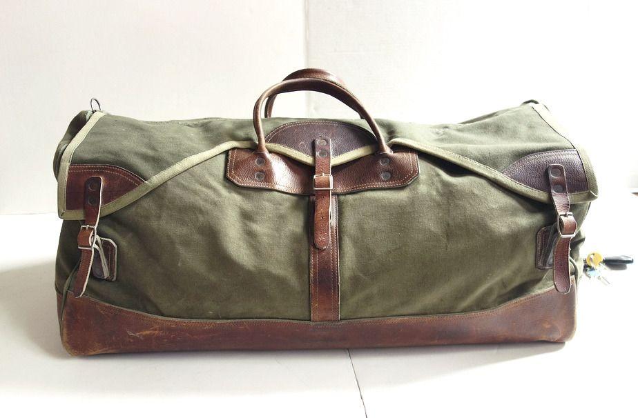 Briefcases Large Vintage Gokeys Leather Canvas Duffle Bag