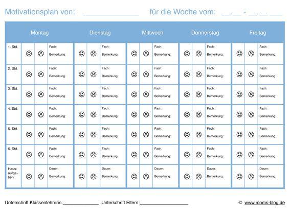 Motivationsplan für Schüler mit Schulproblemen!