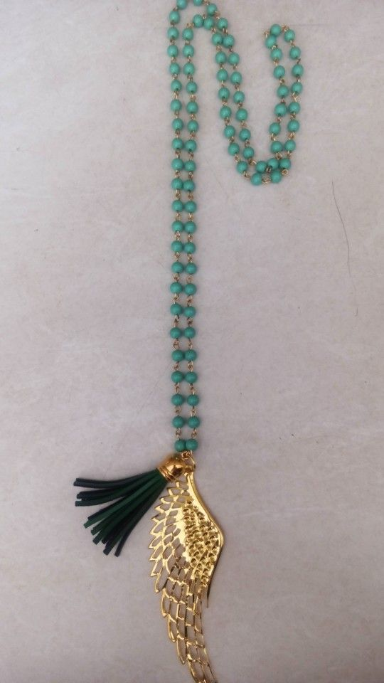 Handmade necklace with green pearls designed by Elli lyraraki!! 17