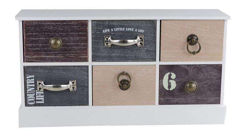 Schrank 6-Fächer Holz Schubladenschrank Schränkchen Kommode kleines