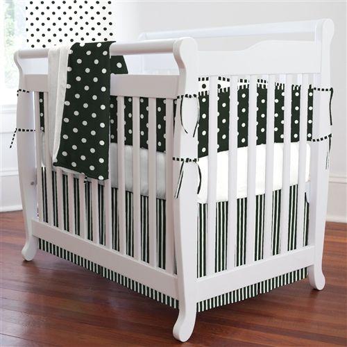 Black And White Dots And Stripes Three Piece Portable Crib Bedding Set Mini Crib Set For Gender Ne Mini Crib Bedding Portable Crib Bedding White Baby Bedding