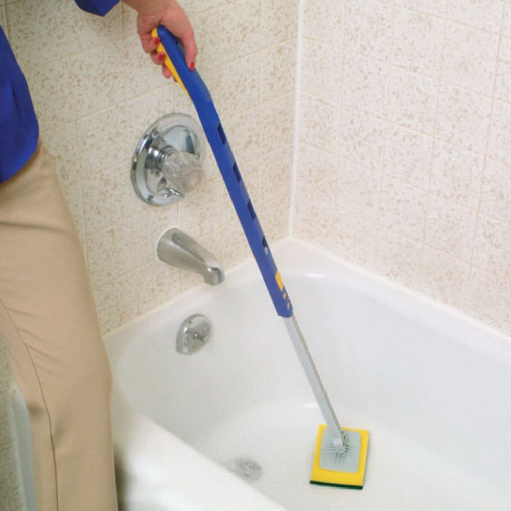Long Handle Bath Room Tub & Shower Tile Scrubber with Heavy Duty Cleaner  Sponge