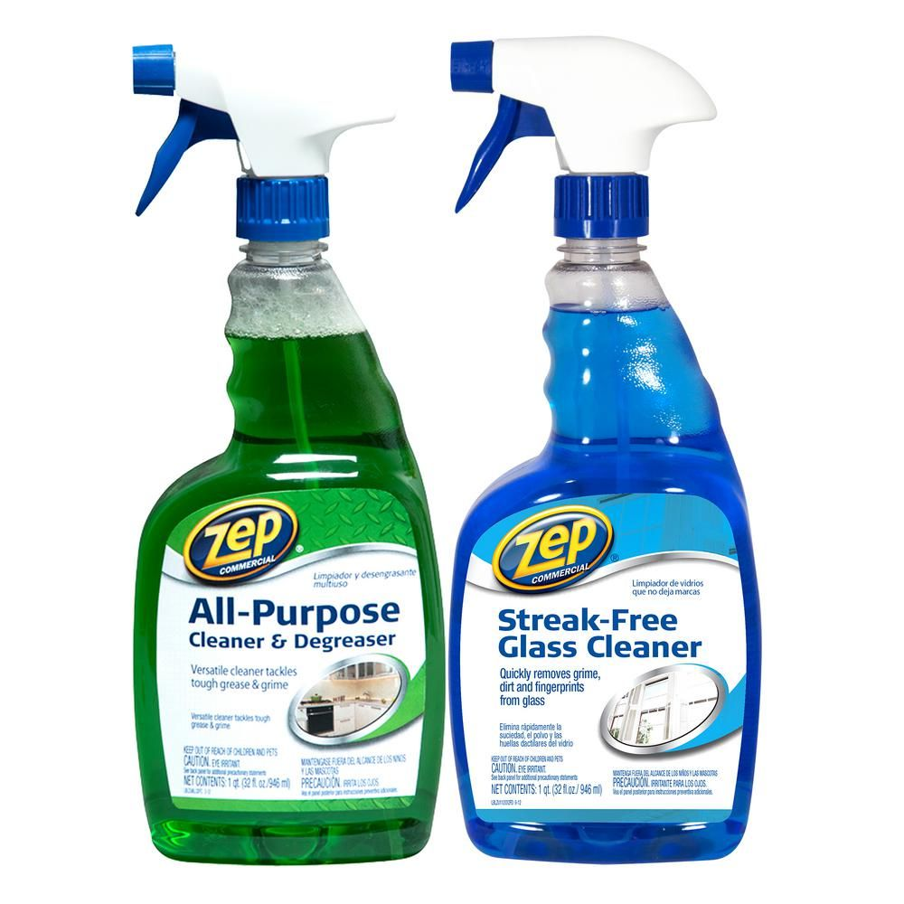 Zep 32 Oz All Purpose Cleaner And Degreaser With Streak Free Glass Cleaner Glass Cleaner Degreasers All Purpose Cleaners