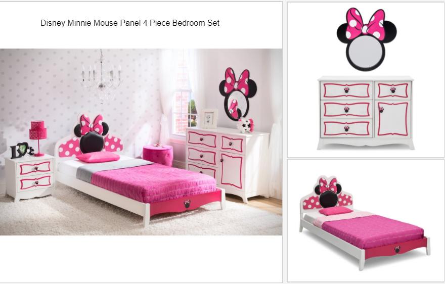 disney minnie mouse twin panel configurable bedroom set