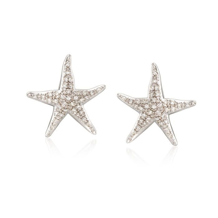 20 ct. t.w. Diamond Starfish Earrings in Sterling Silver