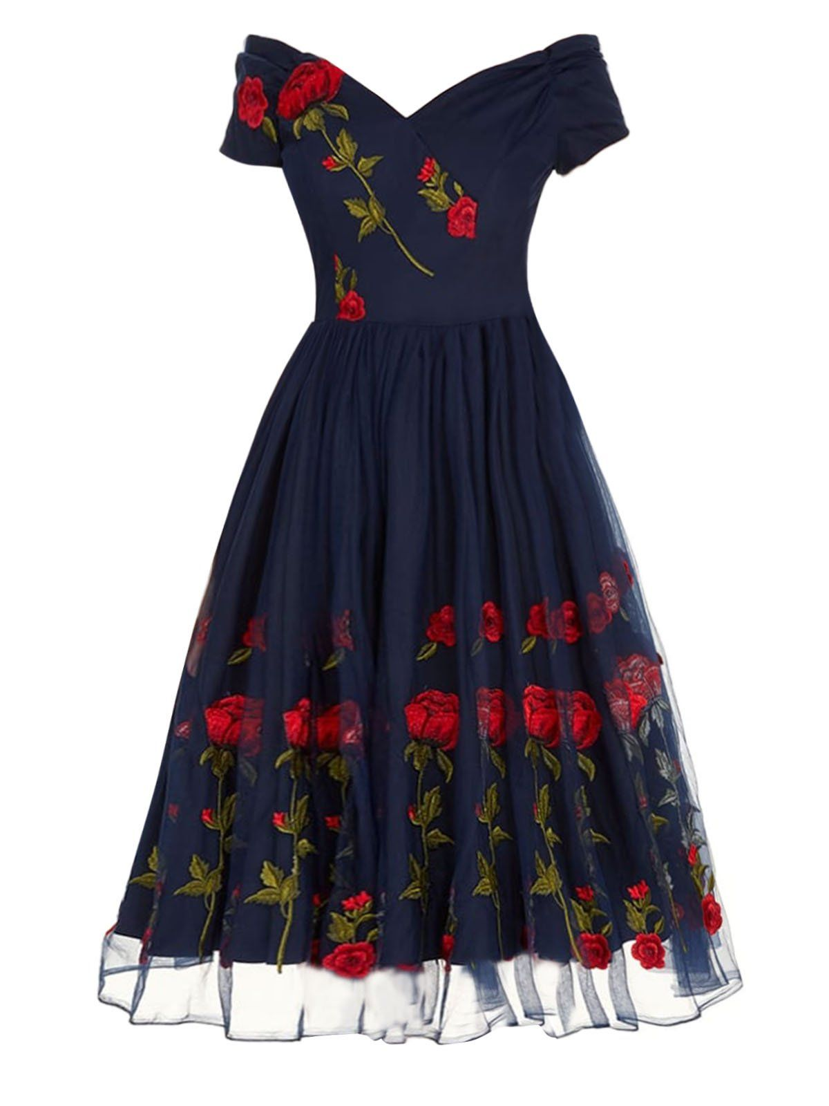 b2760b11ce749e 1950s Rose Embroidery Patchwork Dress – Retro Stage - Chic Vintage Dresses  and Accessories