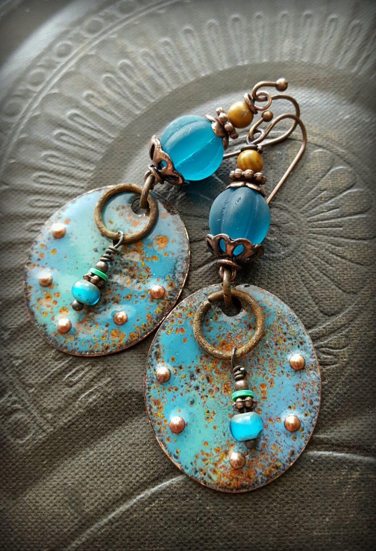 Enameled Copper Earrings, Enameled Beads, Discs, Sea Glass, Earthy ...