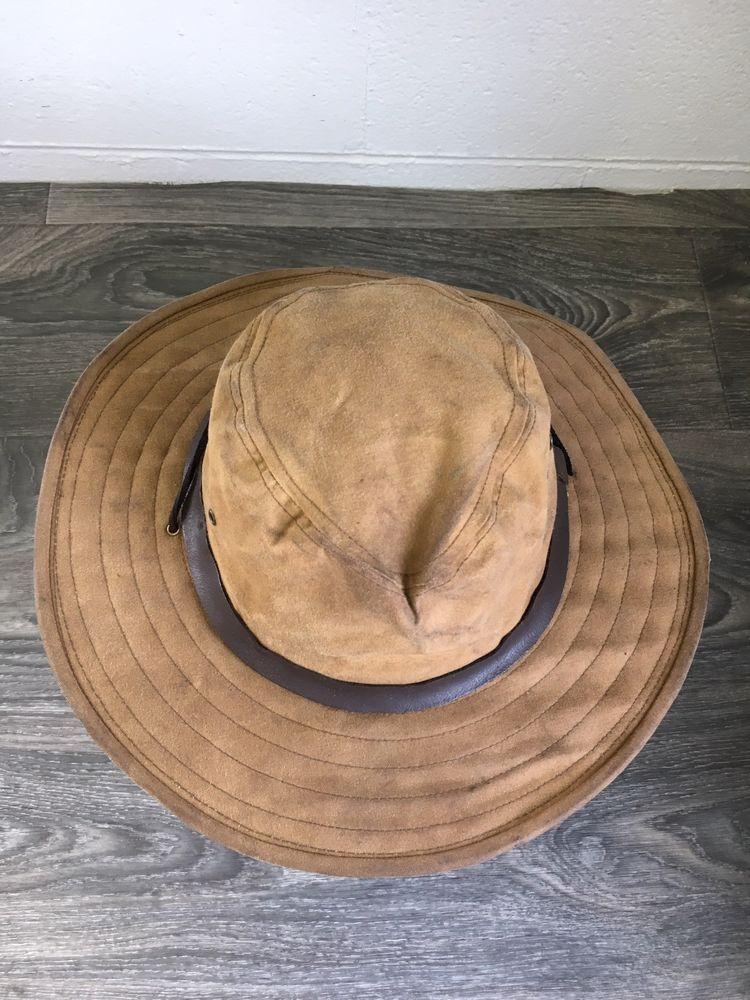 Filson Hat Wide Brim Packer Waxed Tin Cloth Vtg USA Made Large  315  Filson   Packer c02b030aba17