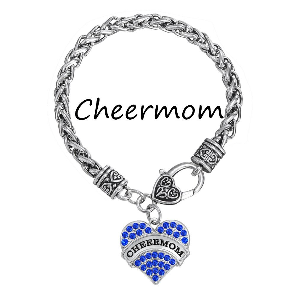 My shape silver plated words cheermom crystal heart charm cheer mom