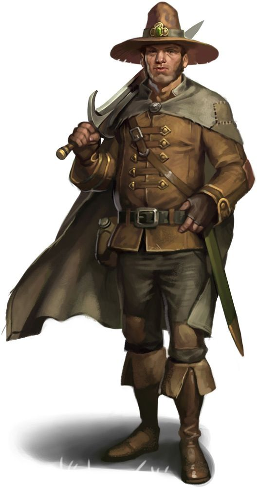 Swordsman in plain brown clothes with a wide-brimmed tall hat ... deceb961454