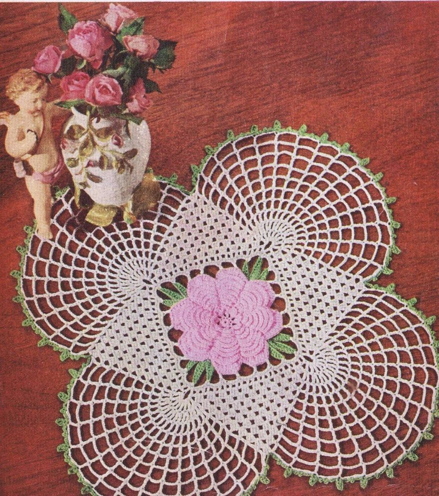 Vintage CROCHET KNIT DOILY HAIRPIN LACE PATTERNS PINEAPPLES FLOWERS ...