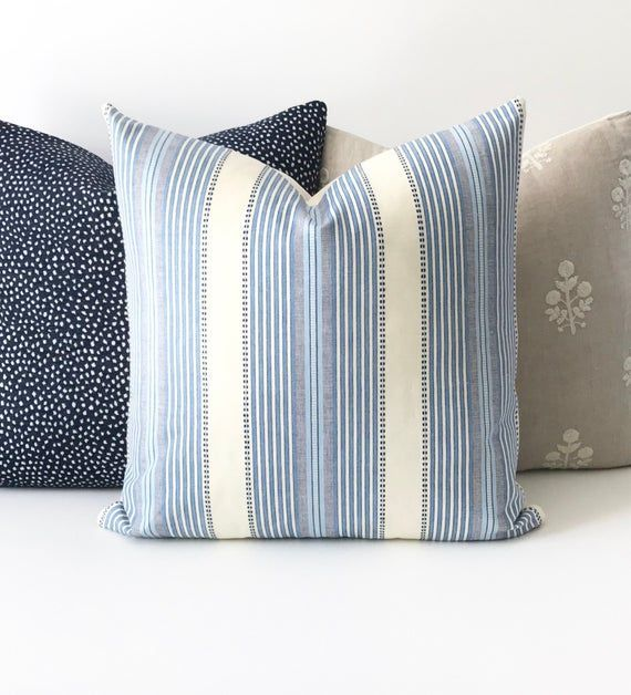 Denium Blue, navy and cream boho stripe decorative throw pillow cover | cream bo...