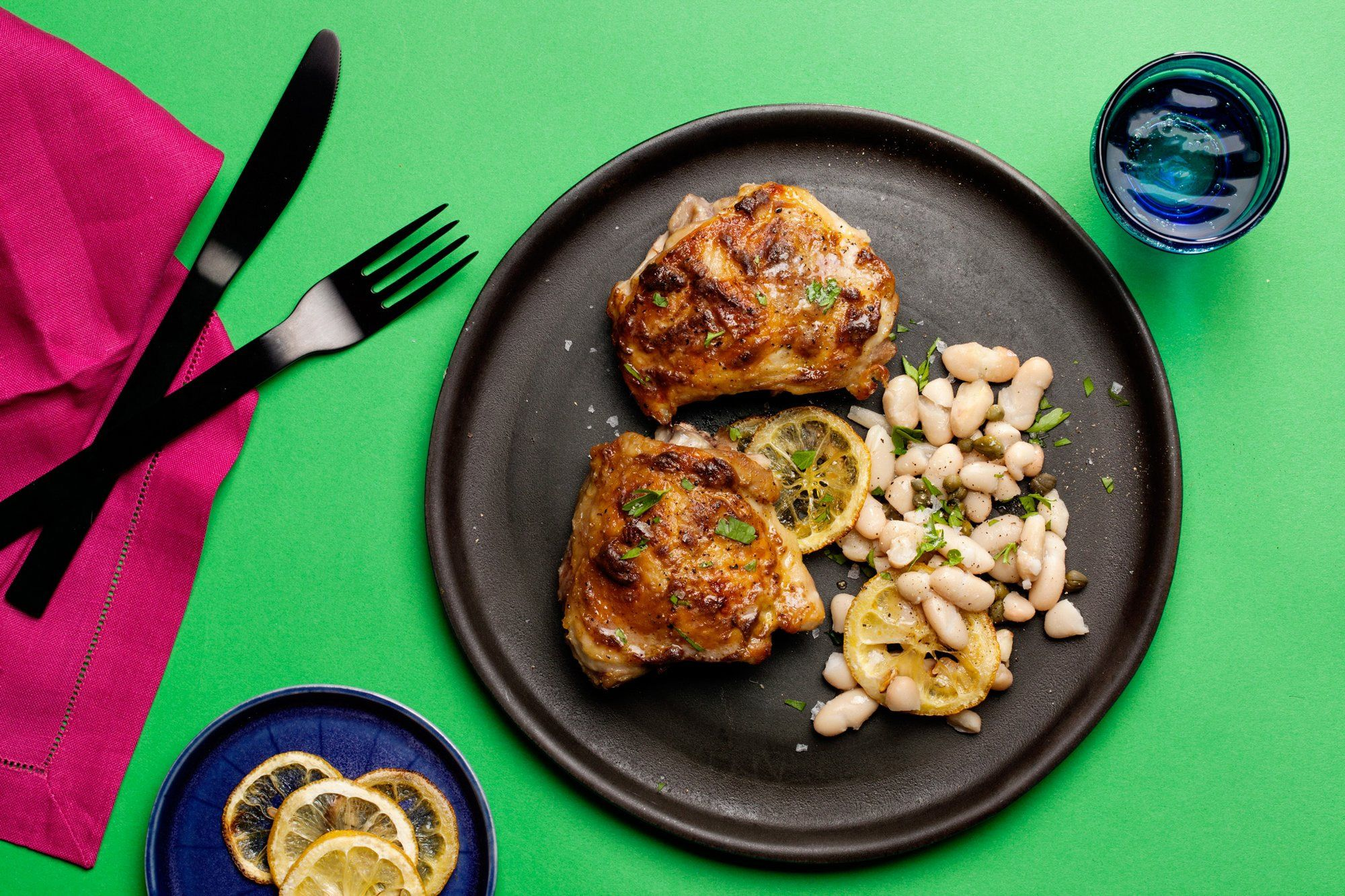 Roasted Chicken Thighs With White Beans Lemon And Capers
