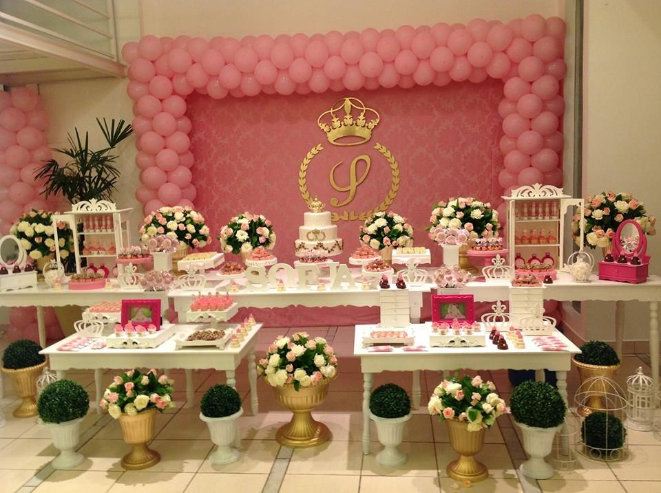 Festa digna de uma princesa;;;linda decoraç u00e3o! Princesa Decoraç u00e3o festa, Decoraç u00e3o festa  -> Decoração De Festa Infantil Realeza Luxo