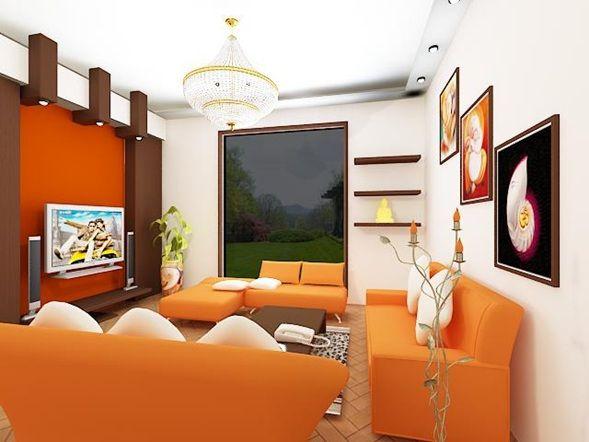 decoracion de sala y comedor en naranja y marrón - Buscar con ...