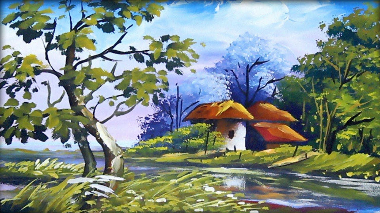 Village Scenery Acrylic Painting Drawing Of House Painting