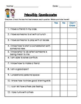 friendship survey social skills school counseling pinterest