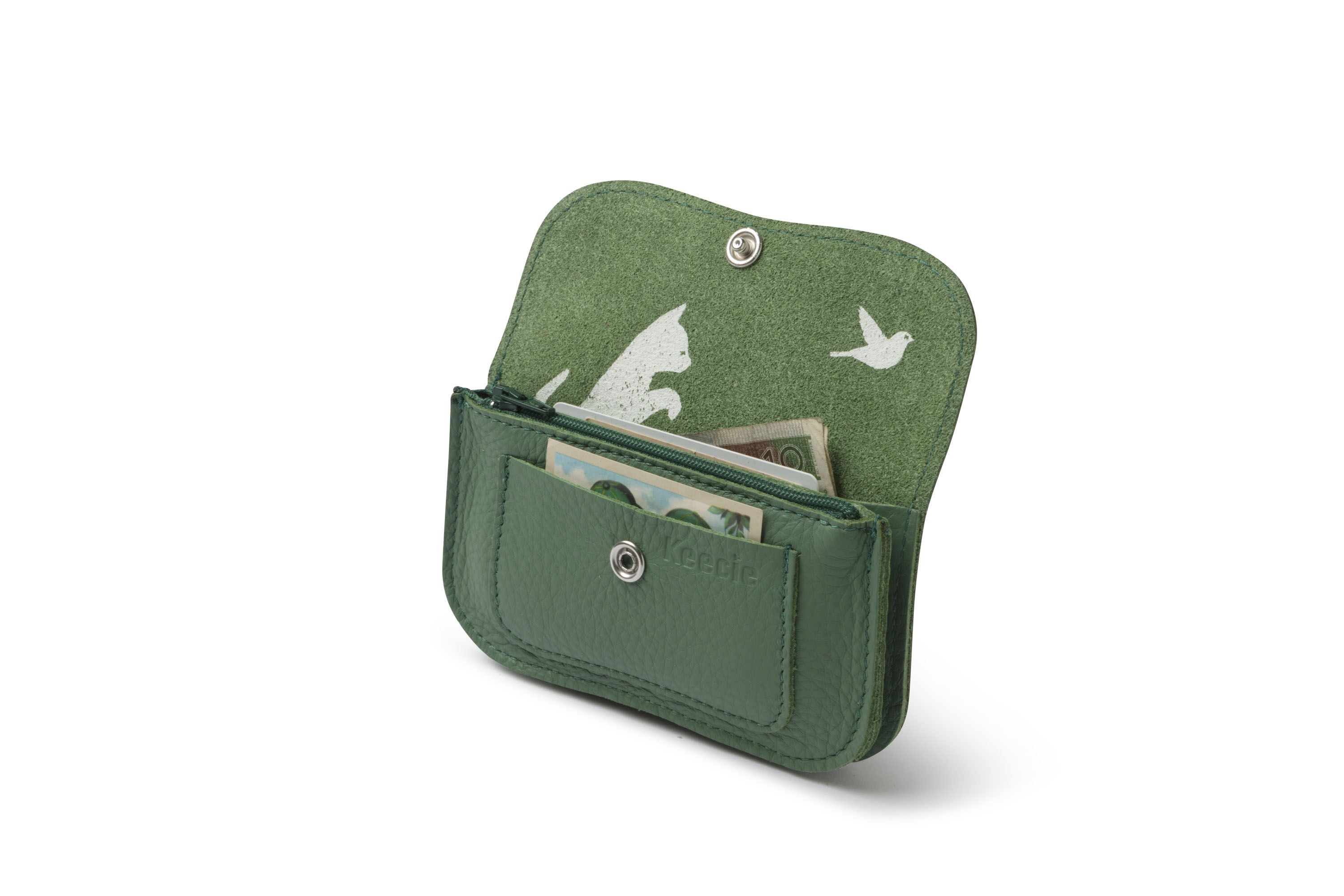 5d58735129b Keecie - Cat chase Small leather wallet in forest | wallets for women |  handmade wallet | leather wallet | portemonnee leer | womens fashion  accessories ...