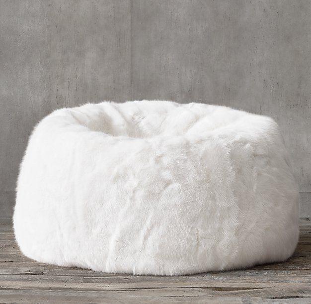 Ultra Faux Fur Bean Bag   White