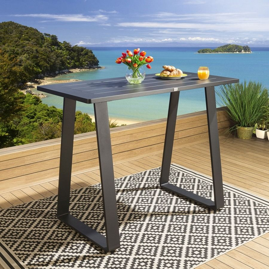 Luxury Outdoor Tall Bar Table 7x7cm Black Aluminium Garden