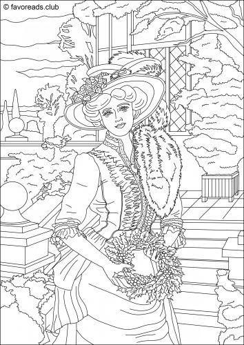 stunning christmas lady from victorian era collection free coloring page for the holiday season - Victorian Coloring Pages