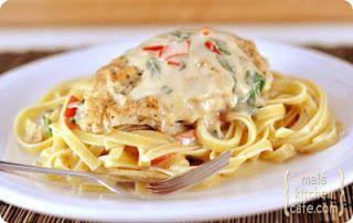Tuscan Garlic Chicken Pasta via Mel's Kitchen Cafe