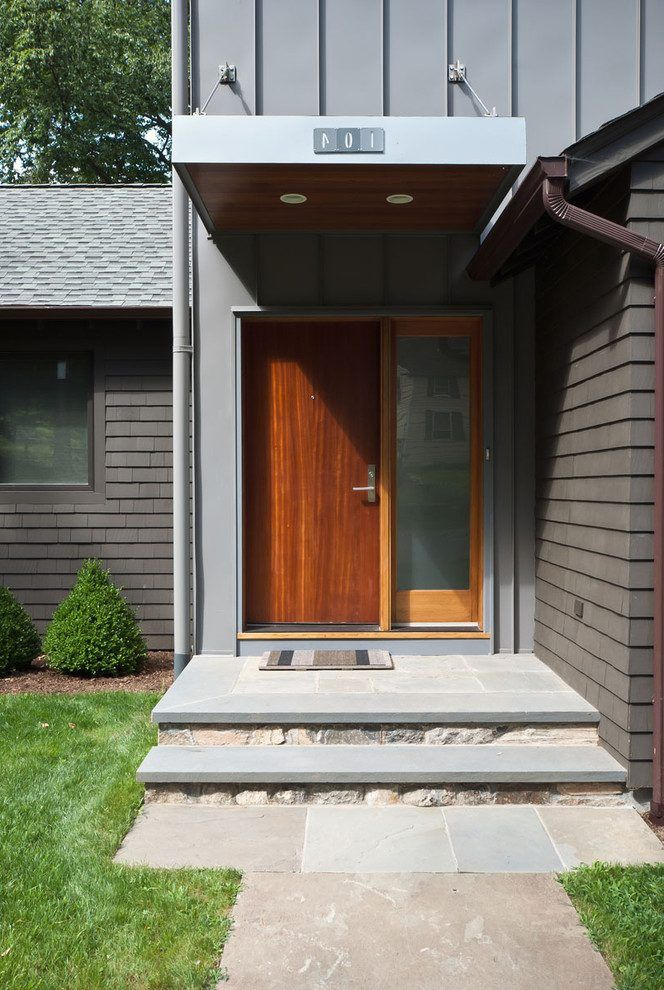 Front Door Steps Ideas Entry Modern With Wood Overhang House Number