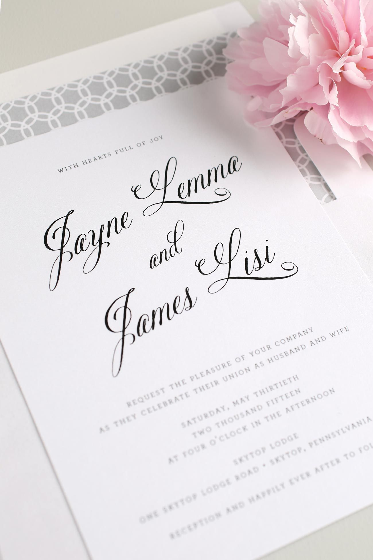 Rustic And Modern Calligraphy Wedding Invitations In Blush Pink Pewter Gray With A Circle Pattern Envelope Liner
