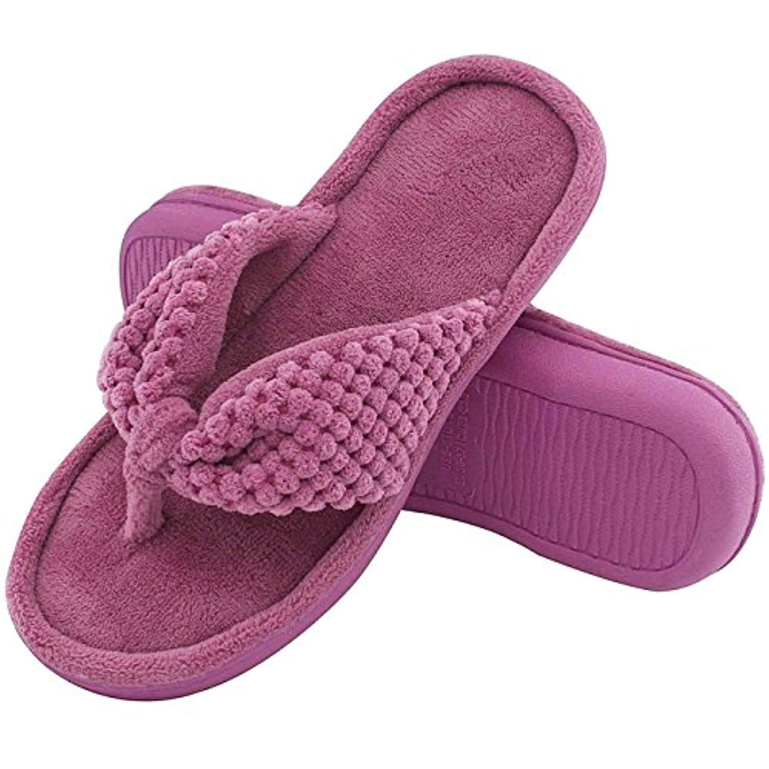 e6626436c Women s Cozy Memory Foam Plush Gridding Velvet Lining Spa Thong Flip Flops  Clog Style House Indoor Slippers     Check out the image by visiting the  link.