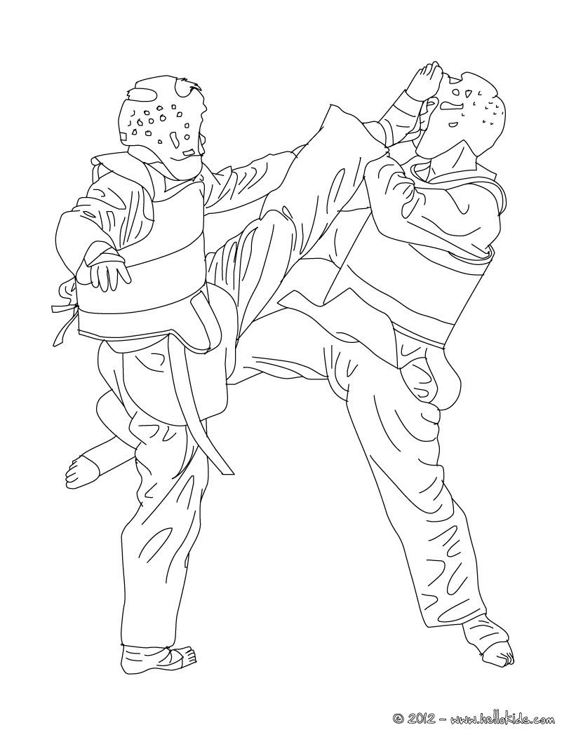 taekwondo combat sport coloring page more martial arts and sports coloring pages on hellokids
