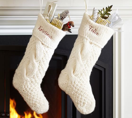 Chunky Cable Knit Stocking, Ivory