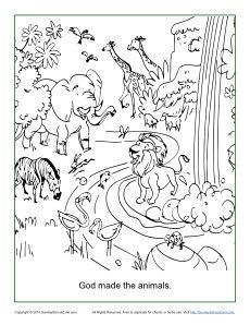 God Made The Animals Coloring Page Sunday School Coloring Pages Creation Coloring Pages Animal Coloring Pages