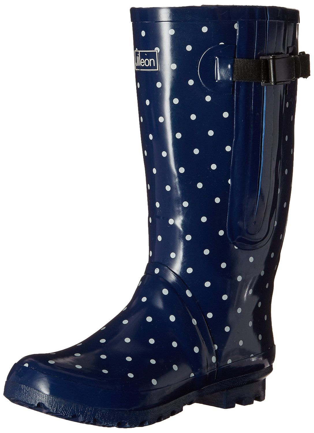 09563d2ec57 Extra Wide Calf Rain Boots - Navy with White Spots up to 21 Inch Calf      More info could be found at the image url.