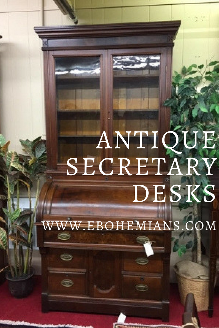 There are so many types and styles to choose from! This article talks about  the basics of antique secretary desk types and ... - Antique Desks - Secretary Desks ⋆ Bohemian's Antique Furniture