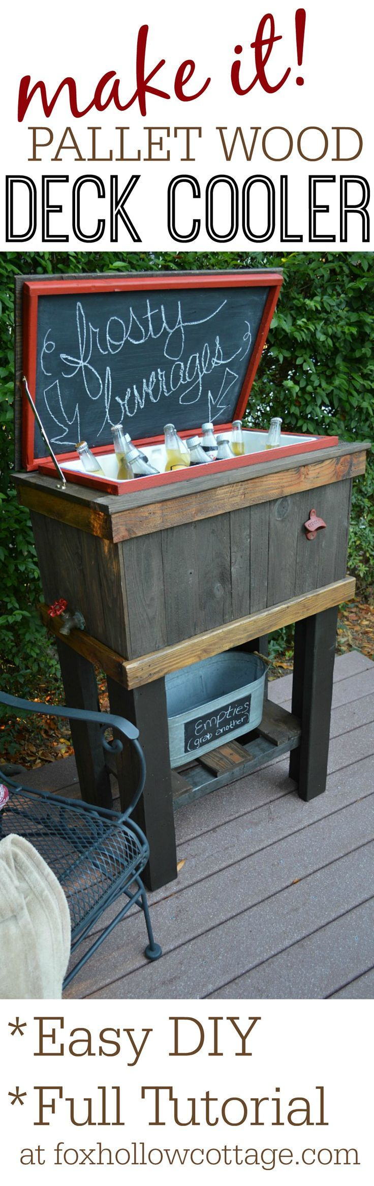 How-To Build A Wood Cooler Stand | DIY Weekend Pallet Project Idea for Porch Patio Deck or Tailgating! Full tutorial at foxhollowcottage.com