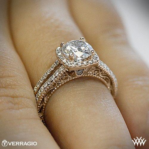20k Rose Gold Verragio AFN 5007CU 4 Split Shank Pave Diamond Engagement Ring